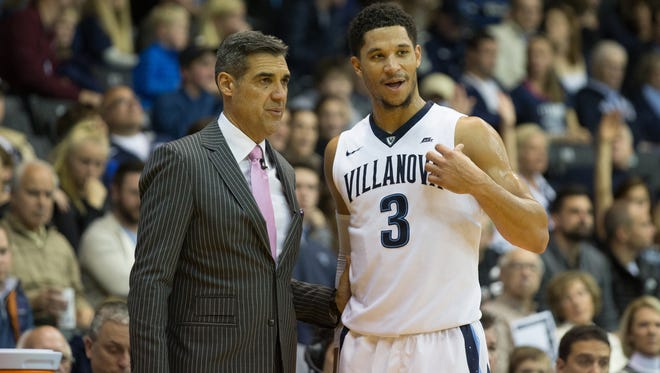 Villanova Wildcats guard Josh Hart (3) talks with head coach Jay Wright during the second half against the Charleston Cougars at The Pavilion. The Villanova Wildcats won 63-47.