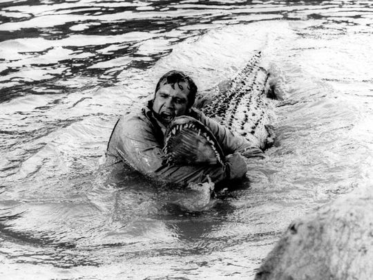 "Lee Majors wrestles an ""alligator"" in a scene from"