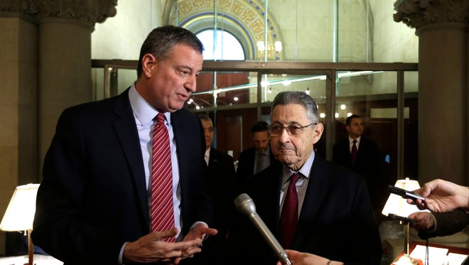 New York City Mayor Bill de Blasio, left, and Assembly Speaker Sheldon Silver (D-Manhattan) at the Capitol in Albany, N.Y., on Jan. 27, 2014.