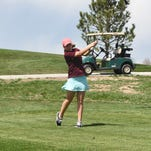 Windsor's Bria Duval tees off at the second hole at Pelican Lakes Golf and Country Club during the Lady Wizard Invitational on Thursday.