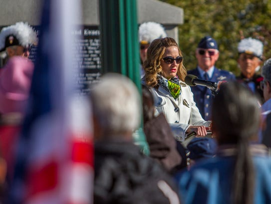 Mayor Maile Wilson speaks during the Veterans Day program