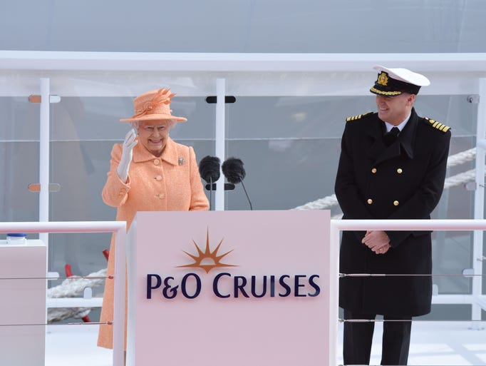 Britain's Queen Elizabeth officially names P&O Cruises