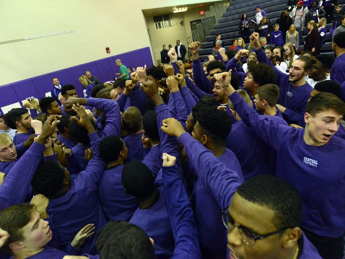 Pickerington Central High School football players gather