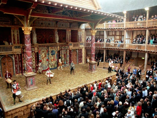 A reproduction of Shakespeare's Globe Theatre sits on the South Bank of London