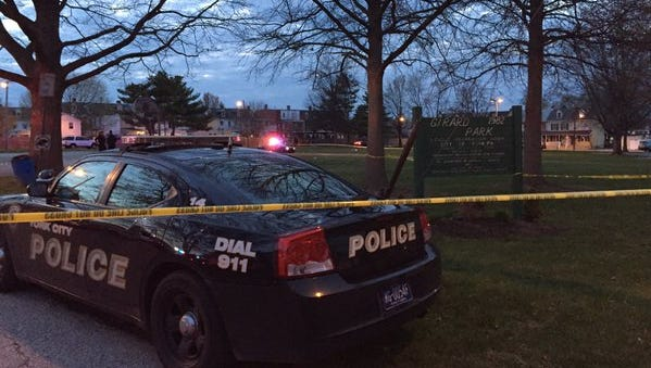 York City Police investigate a shooting in the area of Girard Park on Sunday evening.