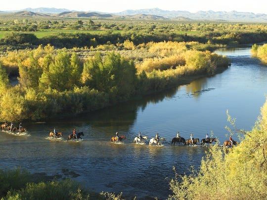 Trail rides through private acres of the Sonoran desert include crossing the Verde River.