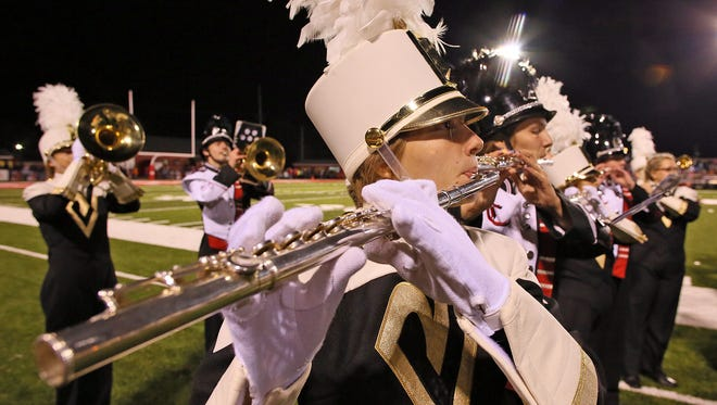 """The Coshocton and River View high school marching bands performed Edgar Winter's """"Frankenstein"""" together during Friday's football match-up at Stewart Field. Both bands will perform in state competition Saturday at Brunswick High School."""