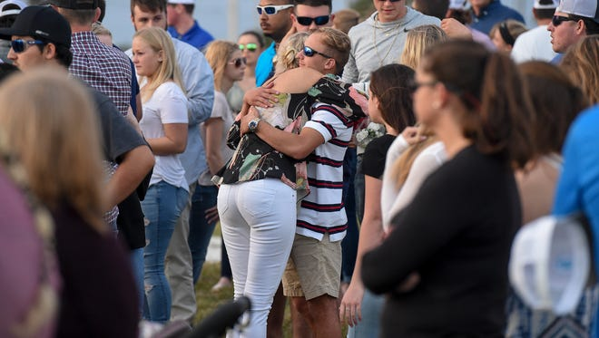 Hundreds gathered to honor the lives of Santia Feketa, 18, and Britney Poindexter, 17, both of Fort Pierce, Thursday, Feb. 8, 2018, during a memorial service at the St. Lucie County Fairgrounds in Fort Pierce. The two teenagers were killed in fatal car accident Tuesday, Feb. 6, on Okeechobee Road just west of Midway Road.