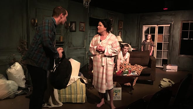 """Donny Riedel, left, and Kelly Ann Komlen in """"Appropriate"""" at Planet Ant Theatre."""