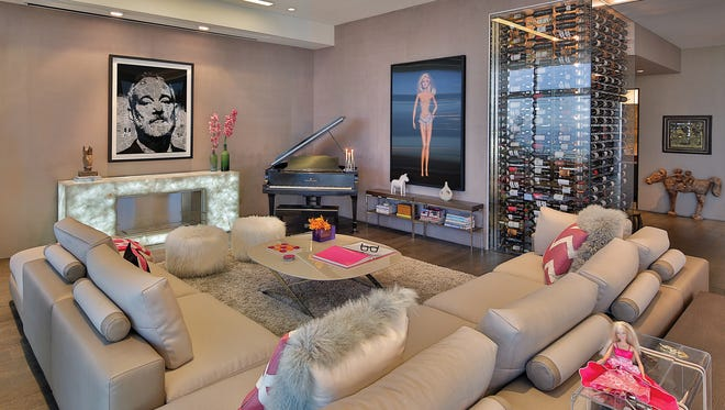 The living room in Barbie's Penthouse is a delightful showcase for retro meets modern.