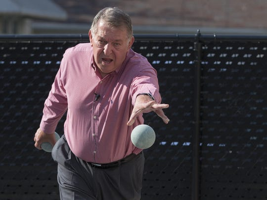 Jerry Colangelo plays bocce at 3 Star Liquors & Tavern in Chicago Heights on July 23,  2015. Colangelo, USA Basketball Chairman and Valley icon grew up in Chicago Heights.