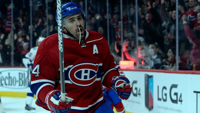 Canadiens forward Tomas Plekanec celebrates after scoring during the second period at the Bell Centre.