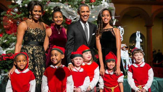 President Barack Obama, first lady Michelle Obama and daughters Sasha and Malia.