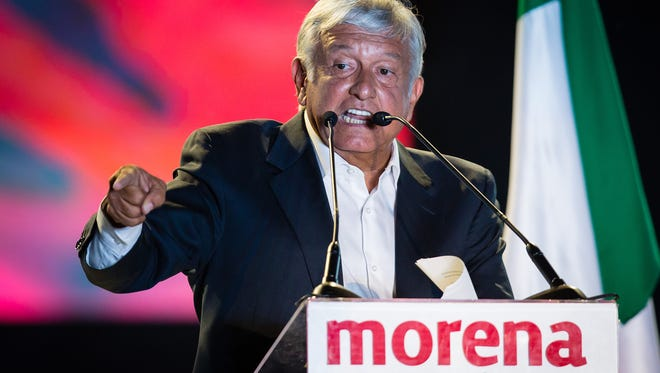 Presidential candidate Andres Manuel Lopez Obrador delivers a speech during the final event of the 2018 presidential campaign at Azteca Stadium on June 27, 2018, in Mexico City, Mexico.