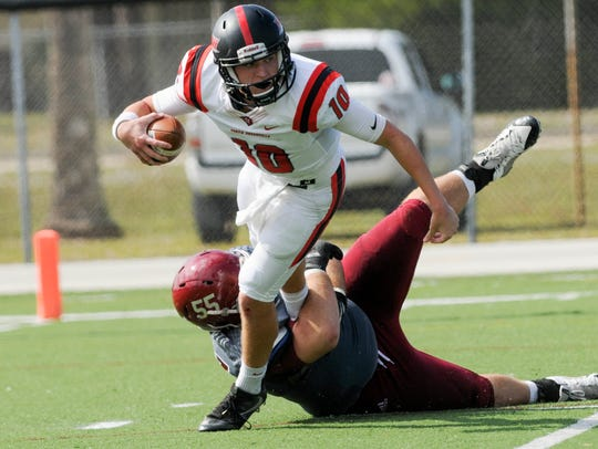 North Greenville QB Will Hunter is sacked by Skylar