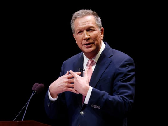 Ohio Governor John Kasich speaks during the Ohio State of the State address in the Fritsche Theater at Otterbein University in Westerville, Ohio on Tuesday.
