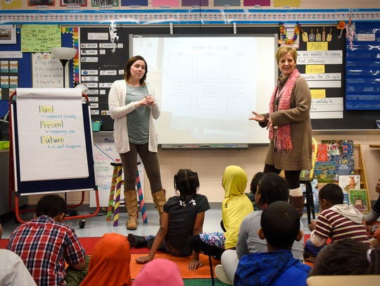 Teachers Emma Wabbe, left, and Jill Haehn demonstrate a co-teaching approach in a second-grade classroom in January 2017 at Talahi Community School in St. Cloud.