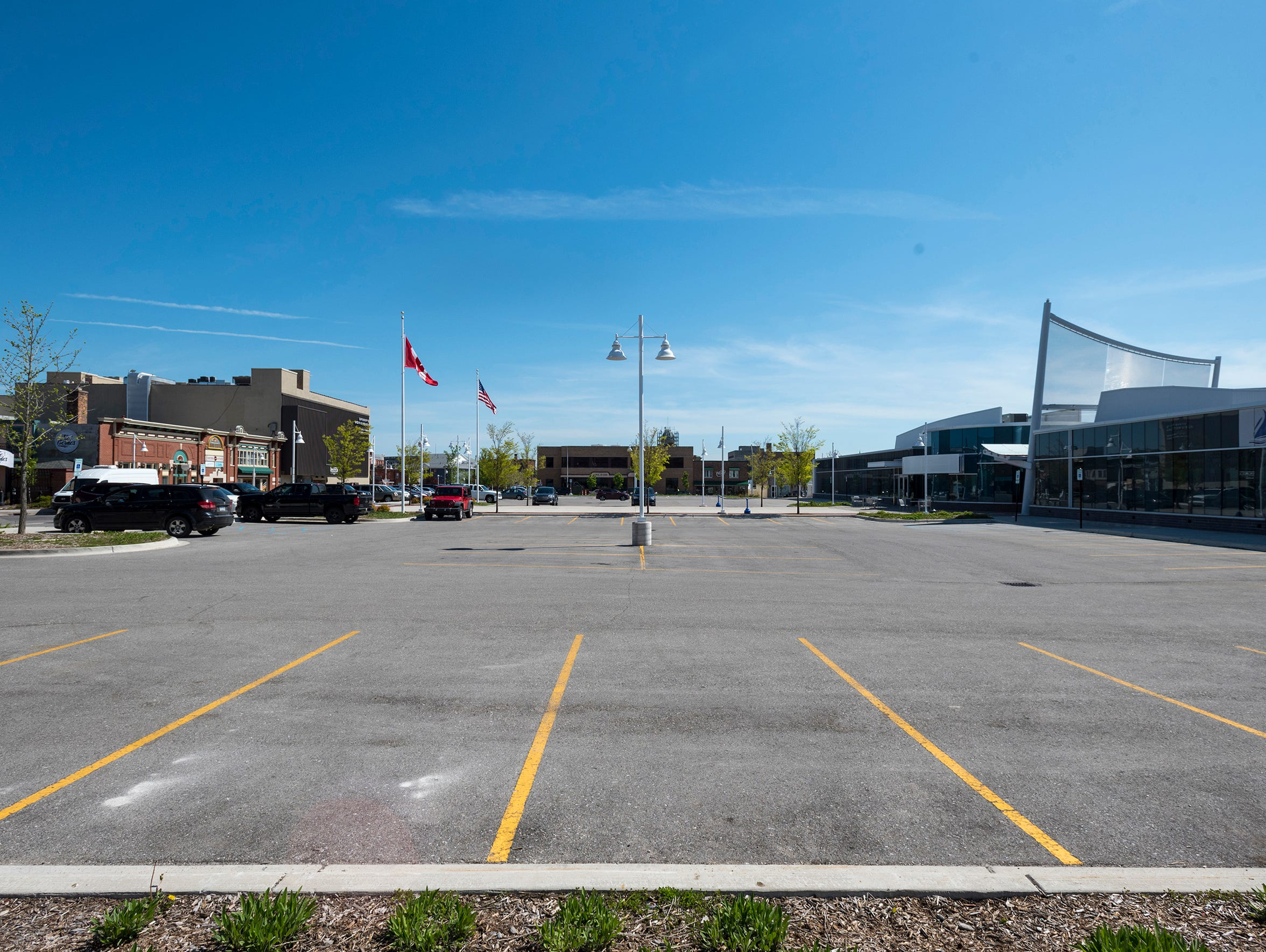 The parking lot at the bus depot in downtown Port Huron