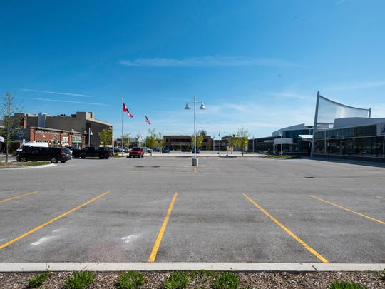 The parking lot at the bus depot in downtown Port Huron is mostly empty Wednesday, May 23, 2018.