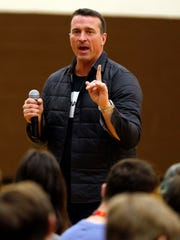 Former NBA basketball player Chris Herren speaks to