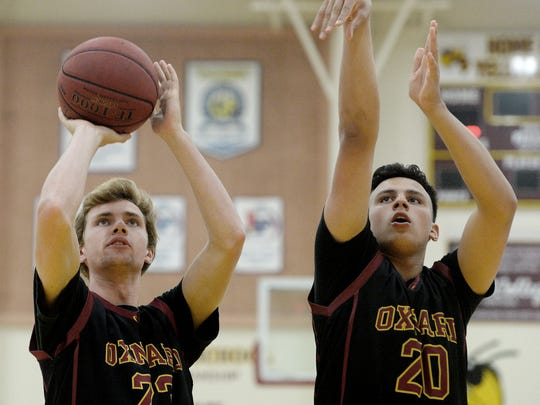Oxnard's Brycen Wight, left, and Mason Johnson are best friends and the Ventura County Star's co-Players of the Year in boys basketball.