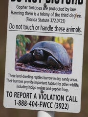 One of the signs posted at the newly-acquired tortoise