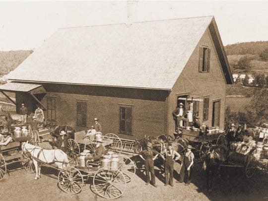 Farmers deliver milk to the Cabot Creamery in 1919.