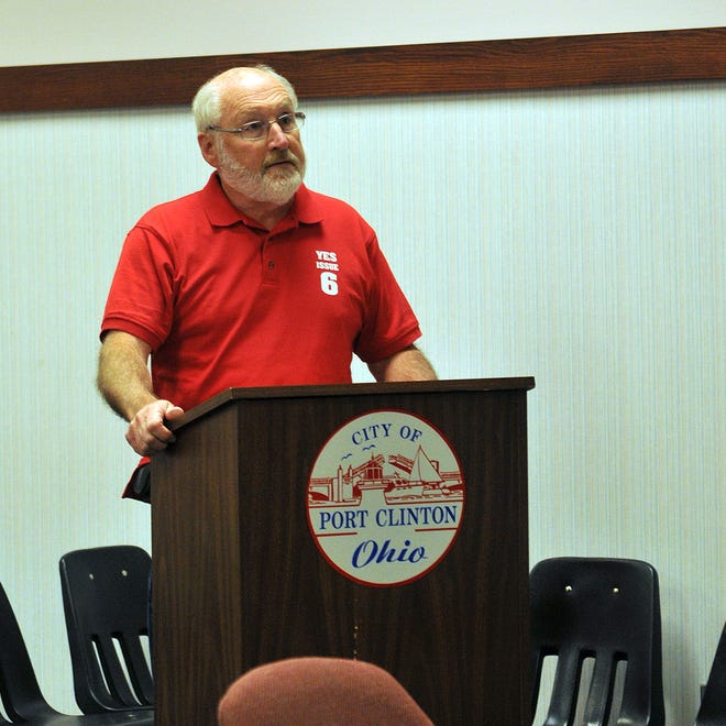 Rick Noderer, spokesperson for Citizen Organized for Responsible Development, speaks during the City of Port Clinton's Planning and Development Committee meeting discussing Issue 6 in City Hall on Tuesday evening.