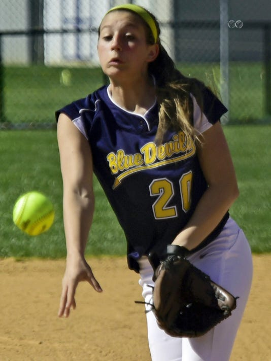 Greencastle-Antrim pitcher Liz Ward throws a pitch during a 5-4 victory over James Buchanan on Wednesday. Ward allowed eight hits and had seven strikeouts.