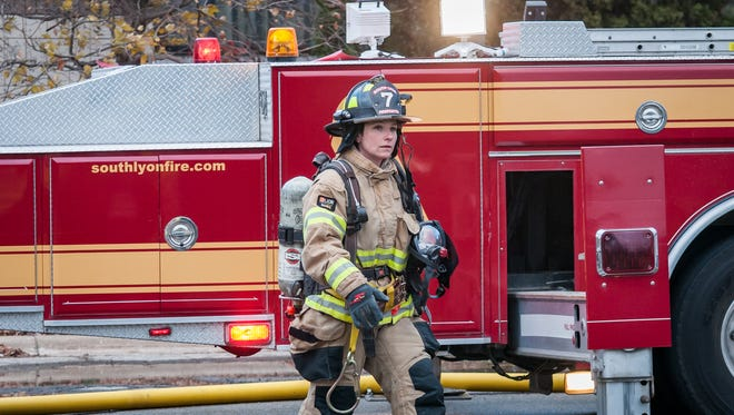 South Lyon Firefighter of the Year Cindy Conrad.