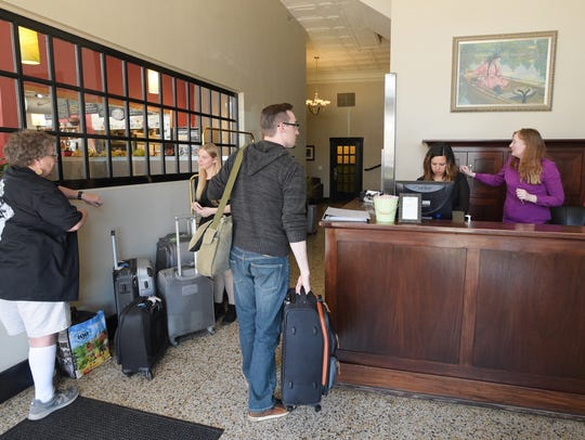 Guest check in to The Armstrong Hotel on Wednesday, April 12, 2017. The hotel, an Old Town icon around since 1923, was sold to a Wyoming investment group in 2017.