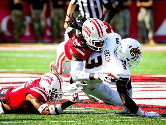 UL defensive back Corey Turner makes a tackle during a game against ULM last season. Mike Curley/Special to the Advertiser