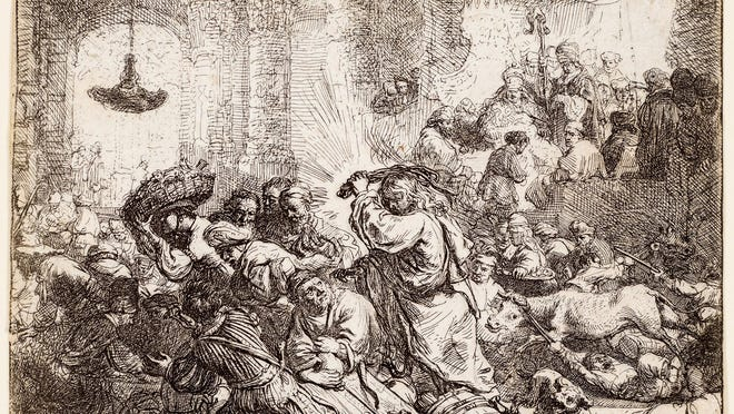 "The figure of Christ brandishing a whip in Rembrandt's ""Christ Driving the Money Changers from the Temple"" is a direct quotation from Albrecht Durer's circa 1508-9 woodcut.  The 1635 etching and drypoint is one of 69 prints from a private collection on view in ""Rembrandt: The Sign and the Light at The Society of the Four Arts."""