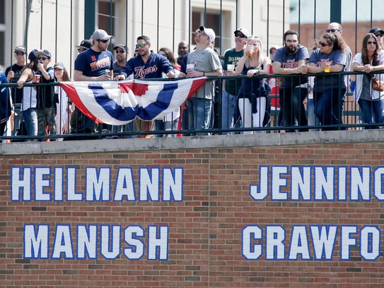 Fans watch the Detroit Tigers play the Boston Red Sox