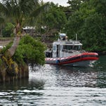 A Guam Fire Department rescue boat returns to the Hagatna boat basin after an operation in August, 2015.