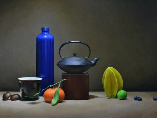"""Still Life with Starfruit, Blue Vase, and Teapot,"" an oil painting by Trish Coonrod of Ithaca."