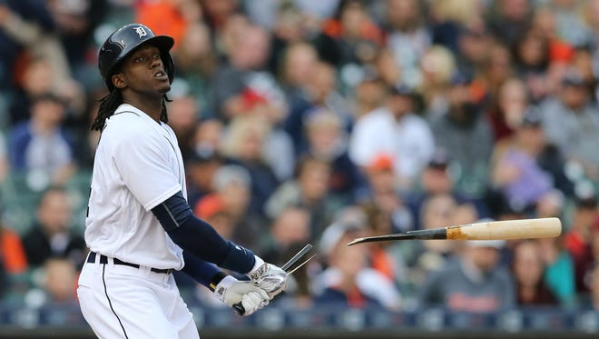 Tigers centerfielder Cameron Maybin breaks his bat fouling a pitch during the first inning Monday at Comerica Park.