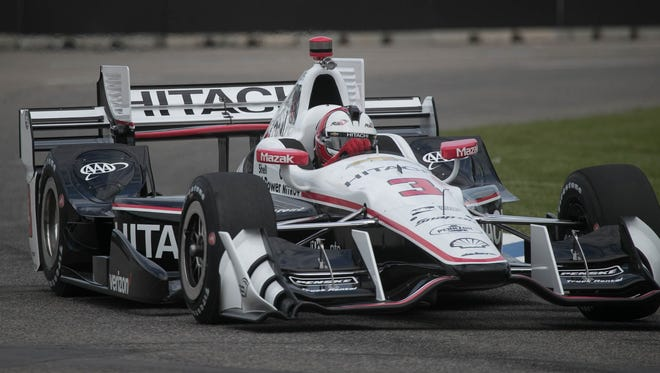 Helio Castroneves driving the No. 3 Chevrolet for Team Penski goes through Turn 8 during IndyCar practice for the Chevrolet Detroit Grand Prix on Friday, June 2, 2017 on Belle Isle in Detroit.