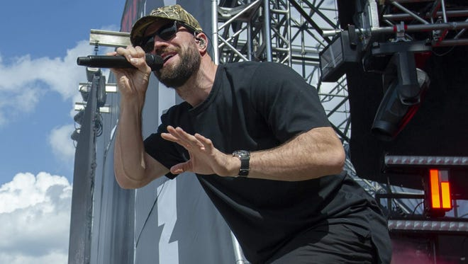 Sam Hunt performs Saturday at Indianapolis Motor Speedway.