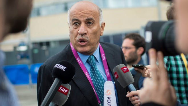 Mahmoud Mohammad Al Rajoub of Palestine speak to the press at the FIFA congress on Friday, May 29, 2015.