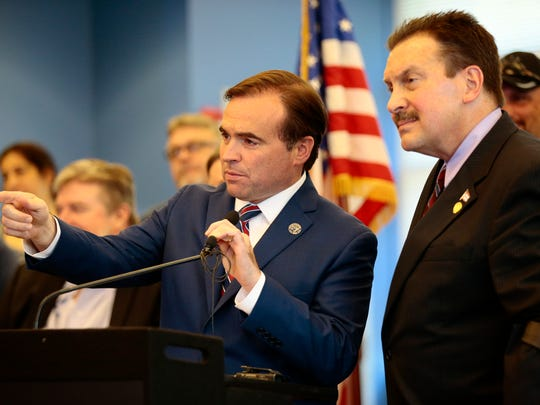 Cincinnati mayor John Cranley and Commissioner Todd Portune take questions after unveiling a plan to place the sewer district under the control of Hamilton County during a press conference at the Metropolitan Sewer District administration building in the Lower Price Hill neighborhood of Cincinnati on Wednesday, July 26, 2017.