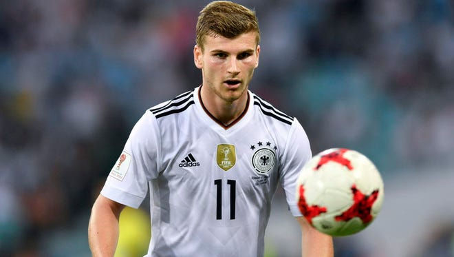 Germany's Timo Werner scored two goals in a 3-1 win over Cameroon on Sunday.