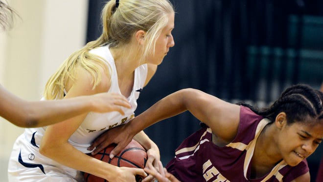 Astronaut's Daiza Moses (right) tries to steal the ball from Mackenzie Wills of Holy Trinity during Friday's game.