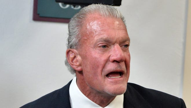 Indianapolis Colts owner Jim Irsay looks on during a news conference to announce the Pro Football Hall of Fame class of 2016 at the Bill Graham Civic Auditorium.