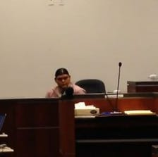 Gregory Woody Jr. on the stand in Coconino County Superior Court, Sept. 17, 2014.