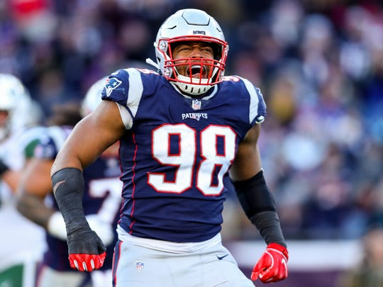 FOXBOROUGH, MASSACHUSETTS - DECEMBER 30: Trey Flowers #98 of the New England Patriots reacts during the third quarter of a game against the New York Jets at Gillette Stadium on December 30, 2018 in Foxborough, Massachusetts. (Photo by Maddie Meyer/Getty Images)