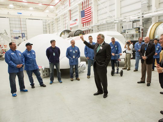 Virginia Governor Terry McAuliffe speaks to Orbital