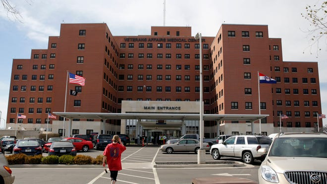 This photo made Wednesday, April 1, 2015 shows the John Cochran VA medical center in St. Louis. VA records reviewed by The Associated Press show that 8,125, or 1.6 percent, of the more than 520,000 appointments completed at Missouri VA medical centers from September through February involved waiting times of 31 days or longer. (AP Photo/Jeff Roberson)