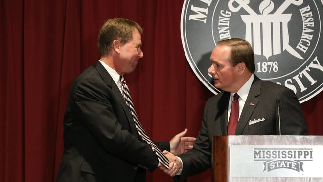Mississippi State athletic director John Cohen, left, will have to find the successful replacement for Dan Mullen as MSU's next football coach.