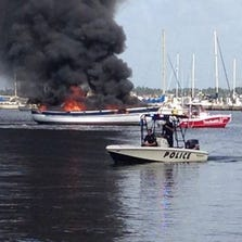 Stuart police provided this photo from the boat fire Sunday.